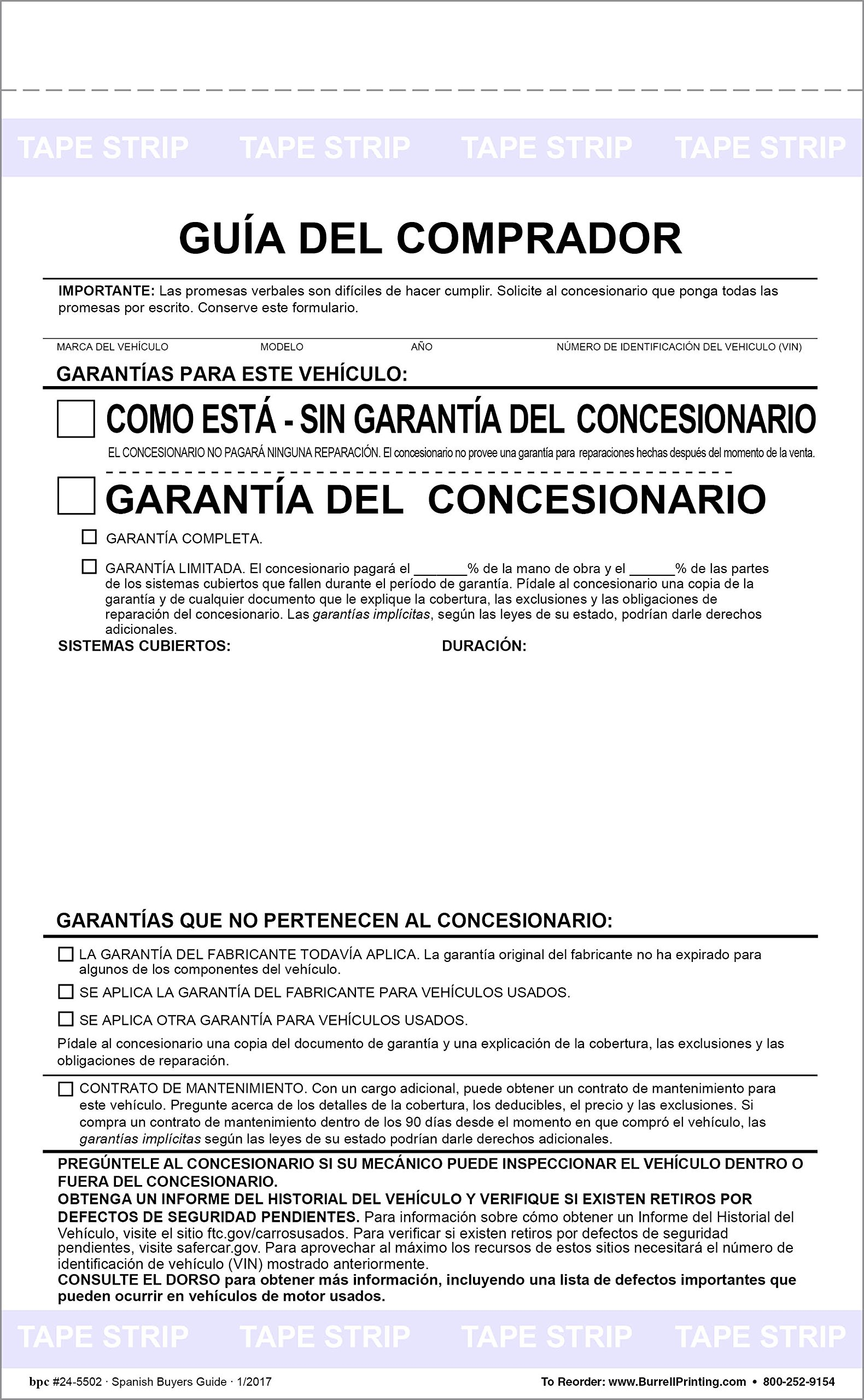 Buyers Guide Form - Adhesive Tape - Spanish - As is - Warranty Pack of 100 Forms by Burrell Printing (Image #1)