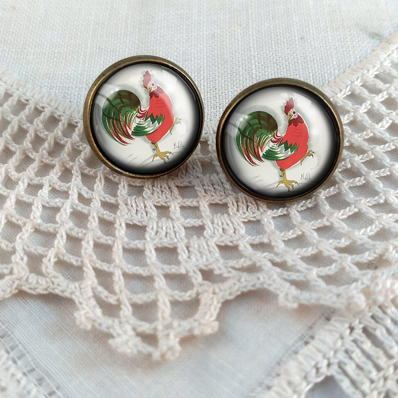 Red Rooster Stud Earrings