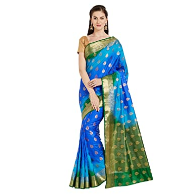 9e7b2ecfb2 Viva N Diva silk with blouse piece Saree (N-23820 Blue_ One Size ...