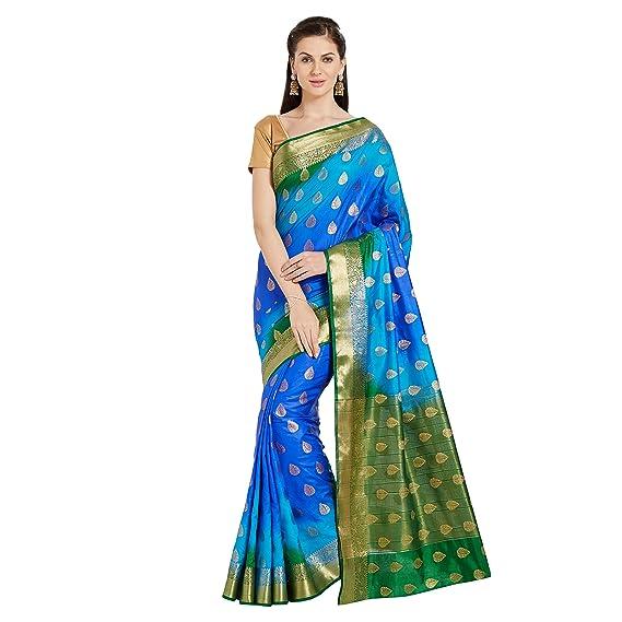 2147b7f252ef3 Viva N Diva Women s Banarasi Silk Saree (Blue   Green)  Amazon.in ...