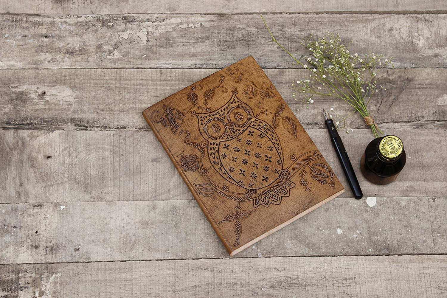 storeindya Handmade Genuine Leather Journal Eco-Friendly Unlined Pages Compact Travel Diary Writing Journal for Men & Women (Traditional Mandala Collection)
