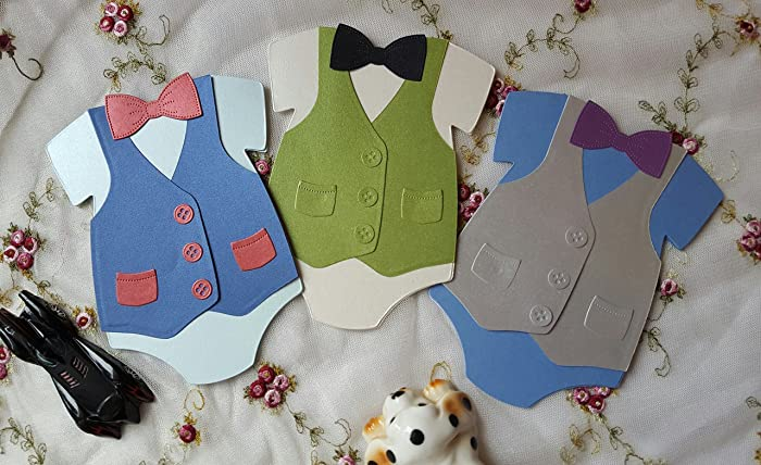 Amazon Com 12 Onesie Baby Boy Shower Invitations Little Man Bow Tie