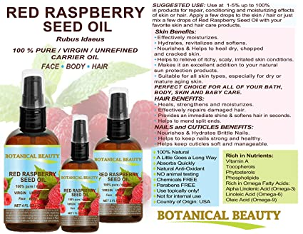 carrier oils for hair. red raspberry seed oil 100% pure / natural virgin. cold pressed undiluted carrier oil. for face, hair and body. 1 fl.oz.- 30 ml. oils