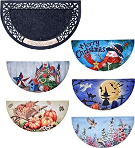 The Lakeside Collection Holiday Doormat with Interchangeable Graphic Inserts - 6 Pieces