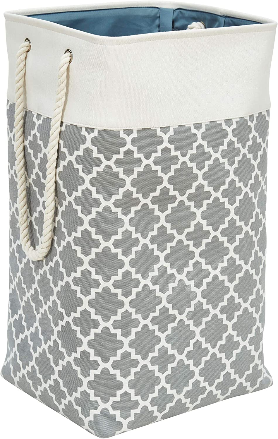 DECOMOMO Foldable Laundry Basket 85.8L Storage Bins, Canvas Nursery Hamper XL Container Long W/ Cotton Rope Handles for Kids, Pets, Toys, Bedroom, Clothes, Sheets, Towels (Patterned Grey – 1 Pack)