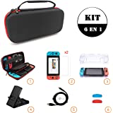 Sanbee Estuche de Nintendo Switch Kit de Accesorios 6 en 1, Funda de Viaje, 2 Protector de Pantalla Vidrio, Carcasa…