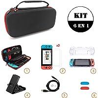 Sanbee Estuche de Nintendo Switch Kit de Accesorios 6 en 1, Funda de Viaje, 2 Protector de Pantalla Vidrio, Carcasa Transparente, Soporte Multi-Angulo, Joy-Con Pulgar Grips, Cable USB