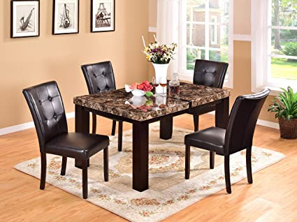 Awe Inspiring Amazon Com Gtu Furniture 5Pc Faux Marble Dining Room Download Free Architecture Designs Sospemadebymaigaardcom