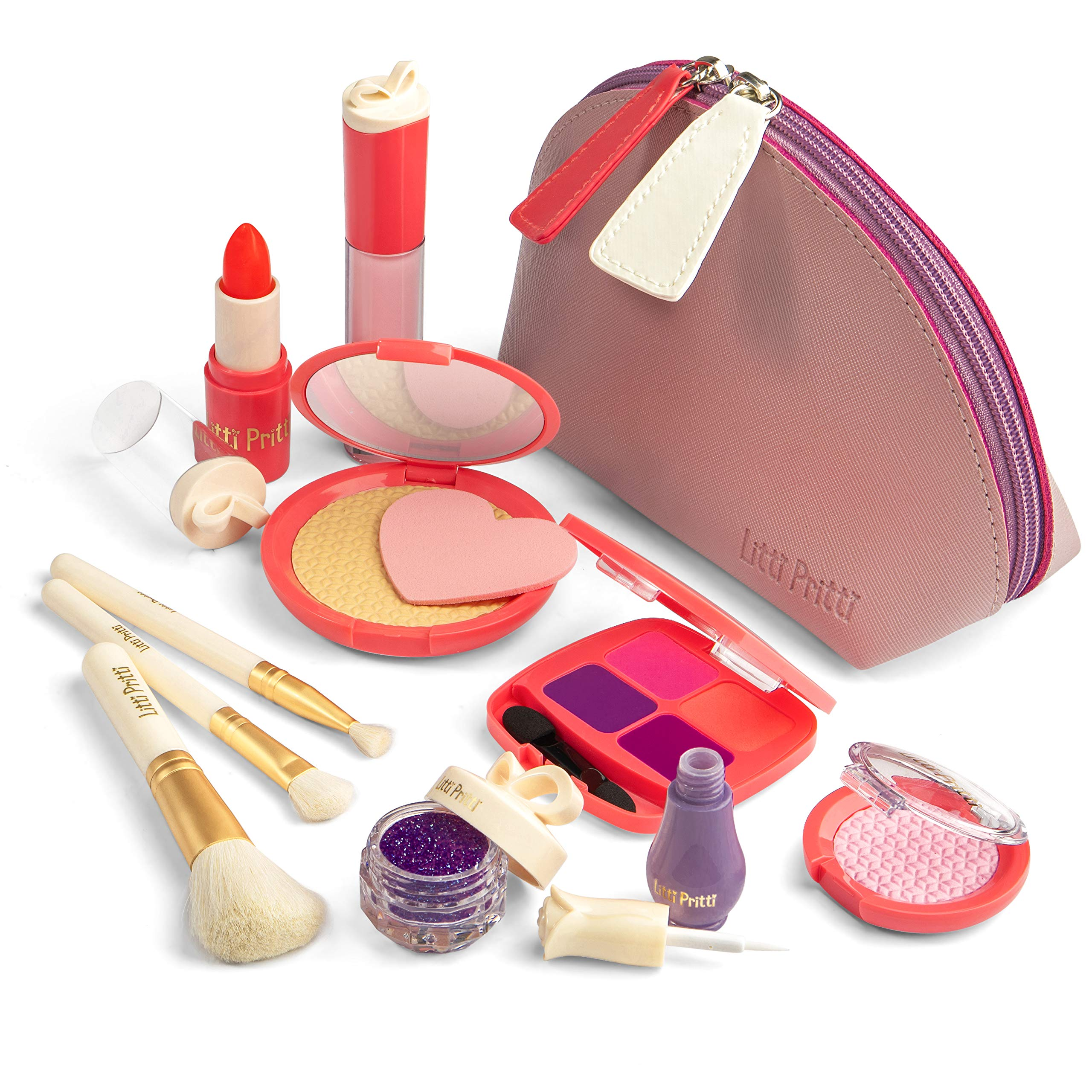 Litti Pritti Pretend Makeup for Girls - 11 Piece Play Makeup Set- Realistic Toys Makeup Set for Girls by Litti Pritti