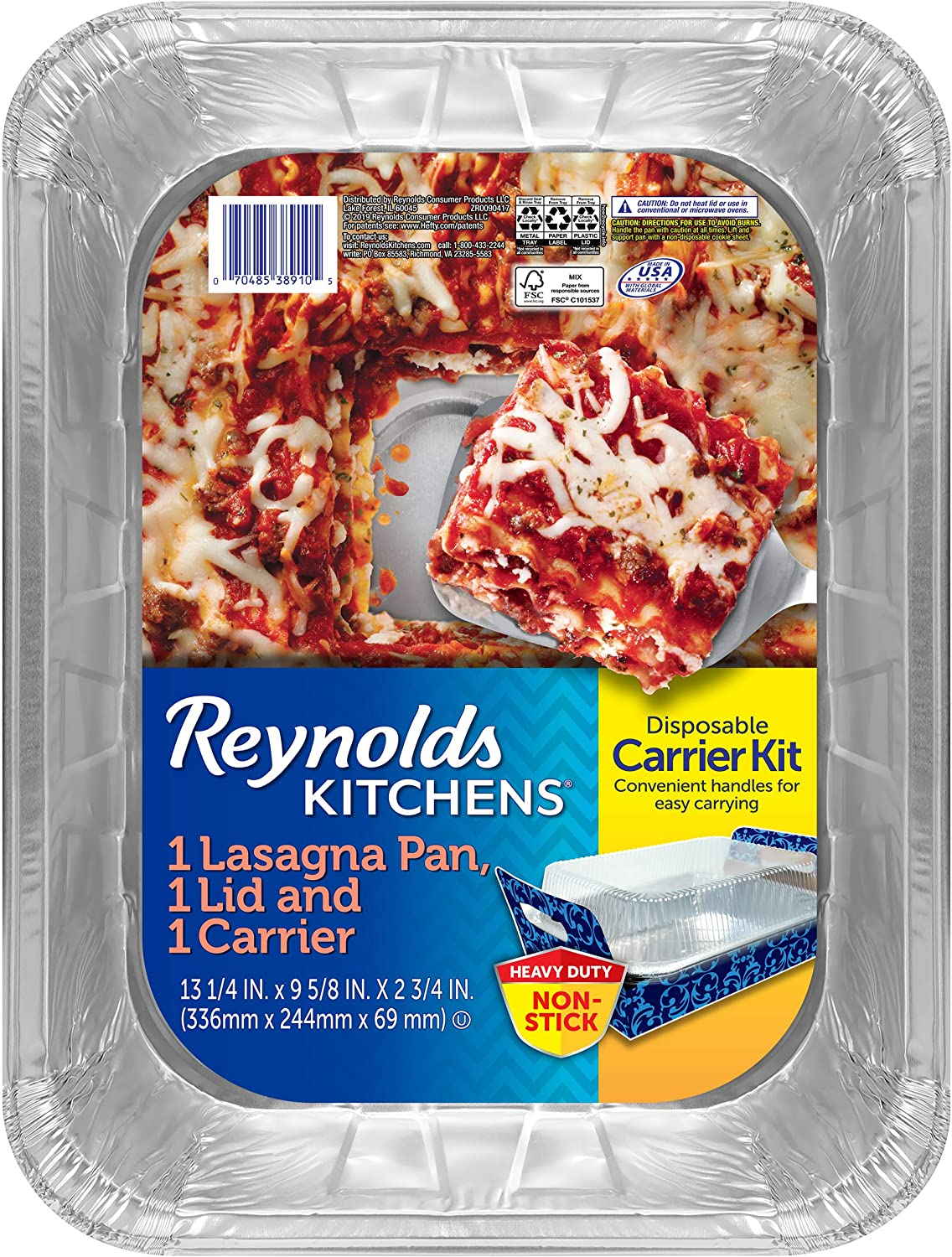 "Reynolds Disposable Lasagna Pans with Carriers & Lids - 13 1/4 X 9 5/8 X 2 3/4"", 3 Count"