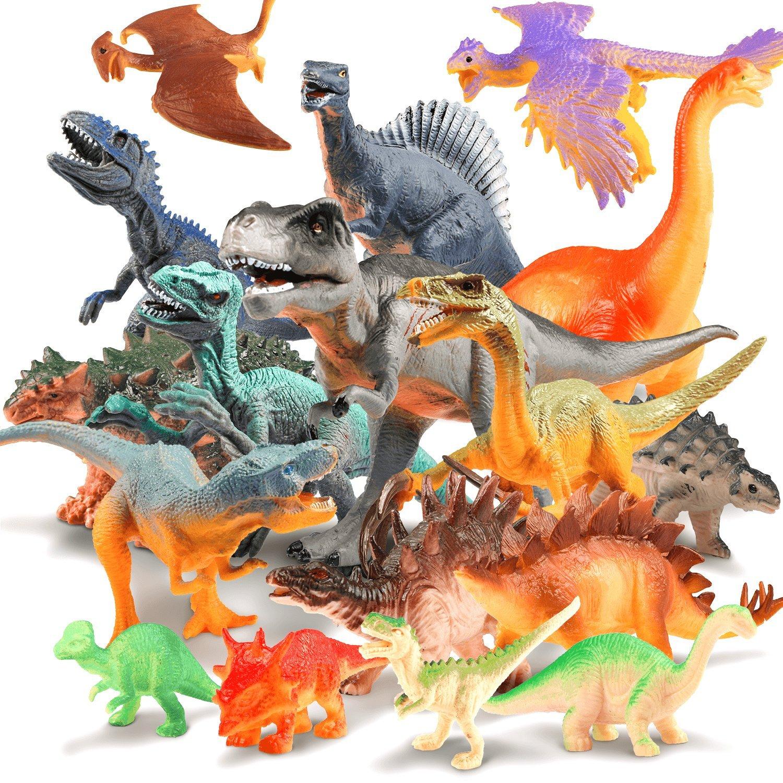 UNEEDE 17 Stücke Dinosaurier Figuren Set Realistische Dinosaurier Spielzeug Sicheres Material Ideal ALS Dinosaurier Party, Geschenk, Lernstoffe