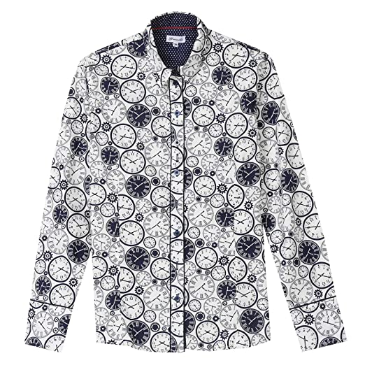 59f8d462 WHAT ON EARTH Women's Clock Print Oxford Top - Black & White Button Down  Shirt -