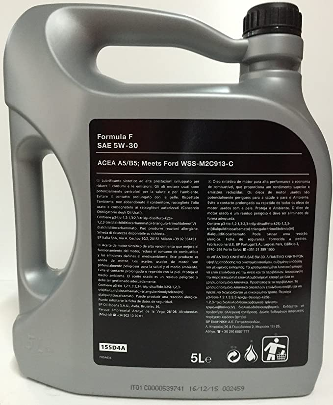 ORIGINAL Aceite de motor Ford FORMULA F 5W30 5 litros 155D3A + filtro de aceite 1359941: Amazon.es: Coche y moto