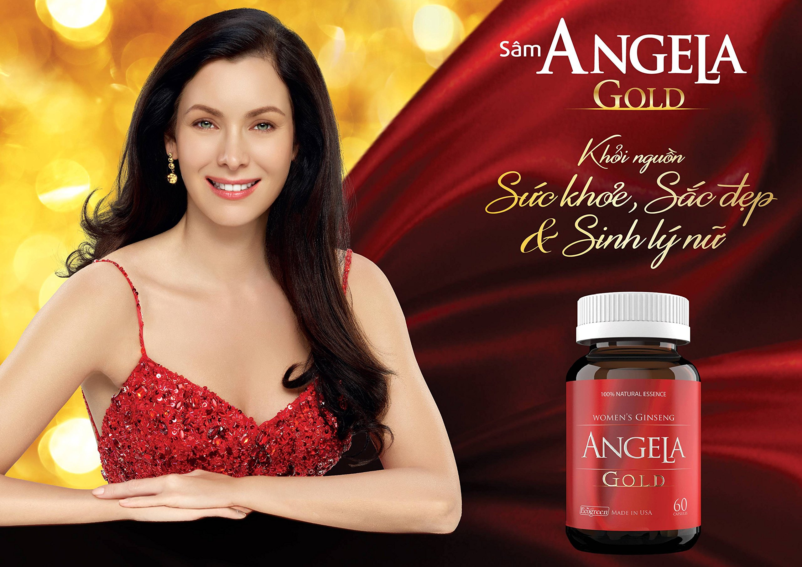 03 Box * 60 Capsule ANGELA GOLD Ginseng - Women Estrogen, Progesterone, Testosterone - Sexual Health-Ship from USA time 7-14 Days