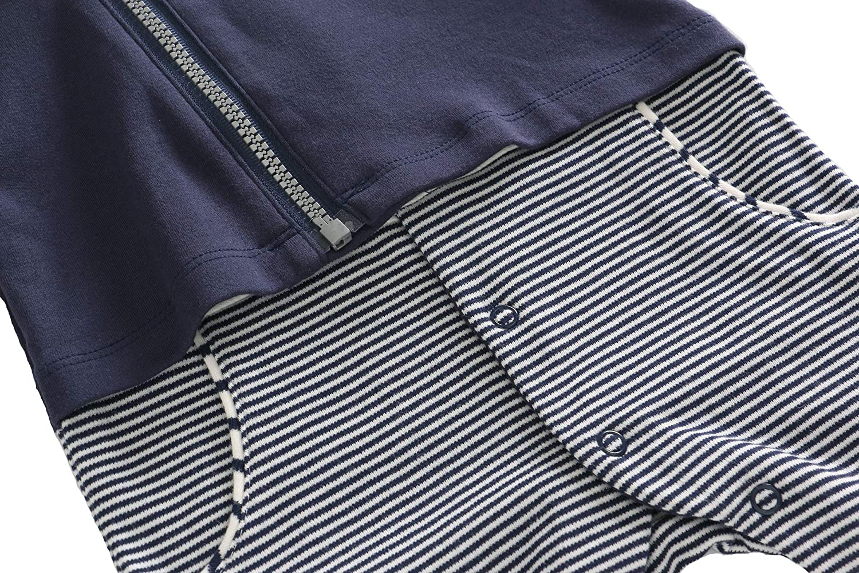 LJYH Toddler Boys Gentleman Fake Two Pieces Jumpsuit Infant Blue Striped Romper