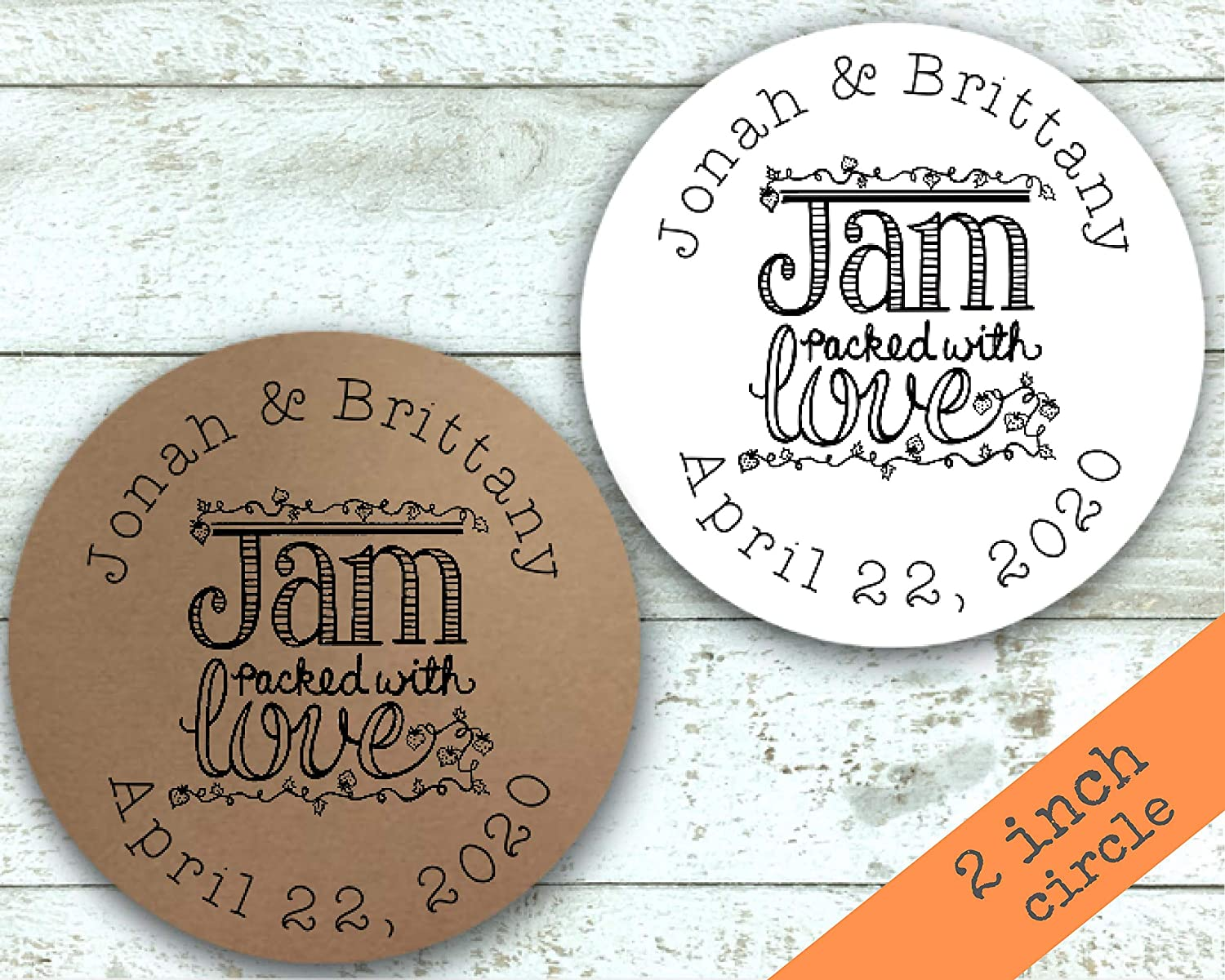 Wedding Engagement Gift Tags Shower Personalized Favor Stickers Jam Packed with Love
