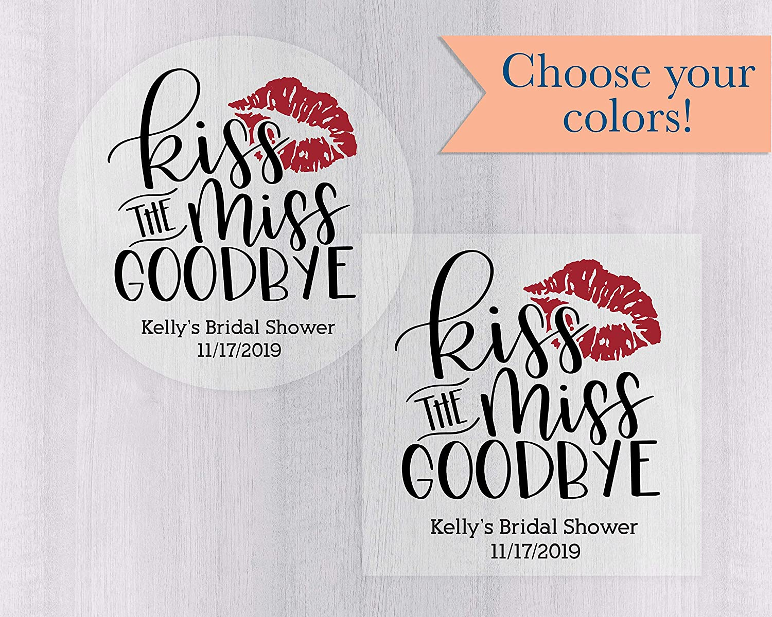 Clear//Transparent Labels Bachelorette Labels #396-C Kiss The Miss Goodbye Stickers Bridal Shower Favor Stickers