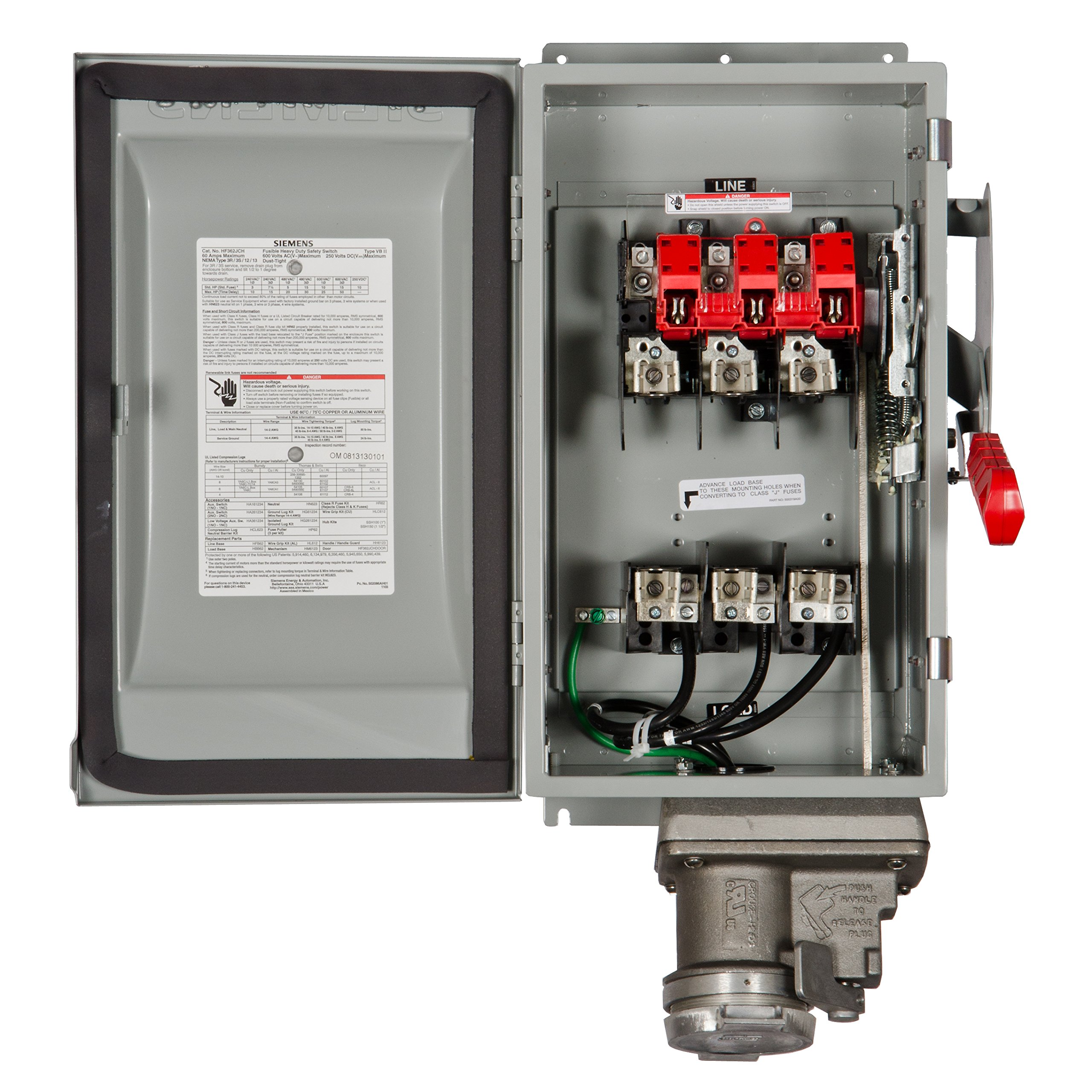 Siemens HF362JCH 60-Amp 3 Pole 600-volt Fused with Receptacle Safety Switches by SIEMENS (Image #2)