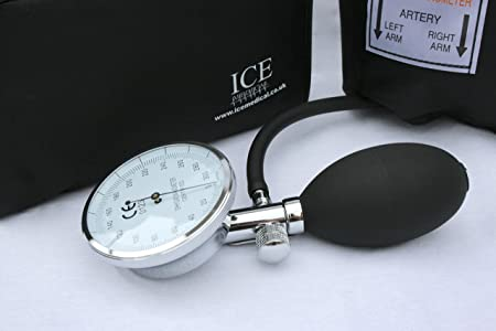 Aneroid Sphygmomanometer - with 1 Adult Cuff and Black Stethoscope - Blood Pressure Monitor Kit by ICE Medical: Amazon.es: Salud y cuidado personal