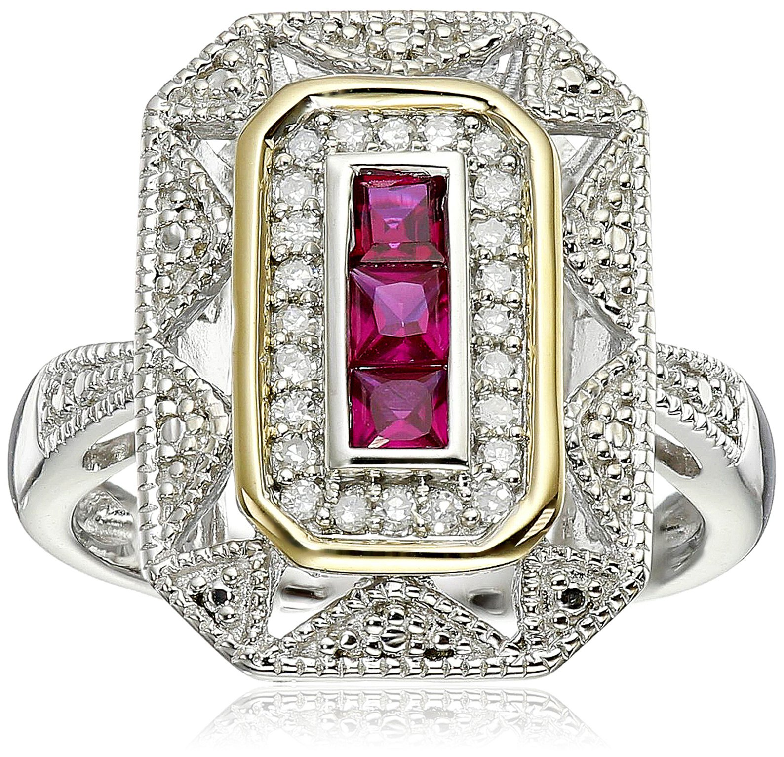 Sterling Silver and 14k Yellow Gold Created Ruby and Diamond Art Deco - Style Ring, Size 7 by Amazon Collection