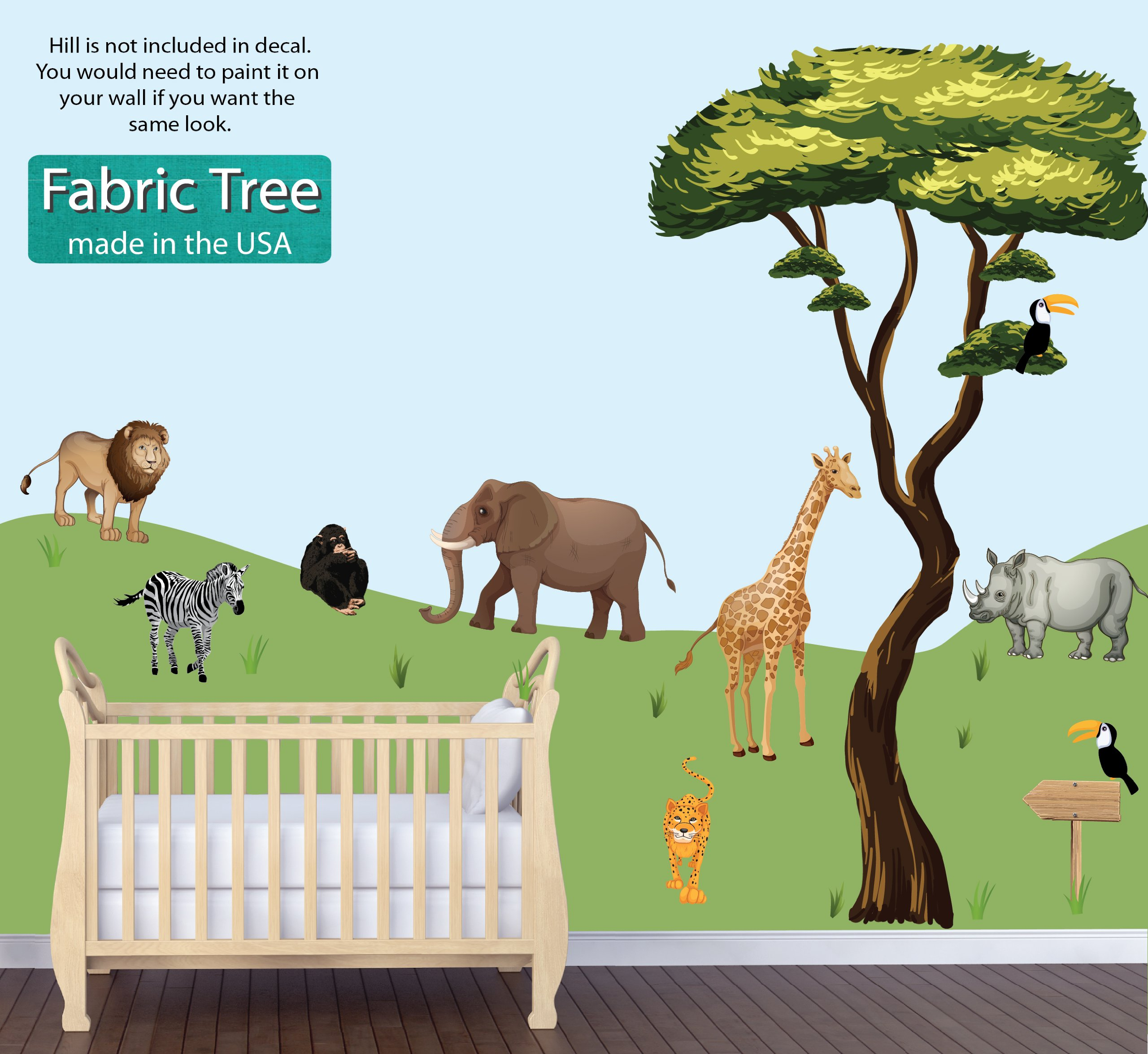 Jungle Tree Wall Decals, Jungle Stickers, Lion Decals, Drawn Jungle Animals Decal