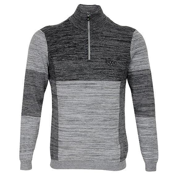 e0f9aaaff5db Hugo Boss Golf Jumper - Zadok Pro - Grey Melange FA17-L  Amazon.co.uk   Clothing