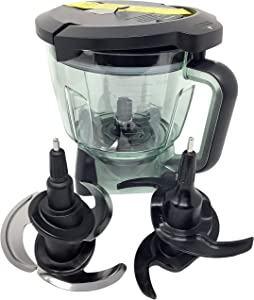 Ninja 64oz (8 Cup) Food Processor Bowl Locking Lid Chop Dough Blade Attachment Kit for BL770 BL771 BL772 BL780 BL780CO Mega Kitchen System Blender