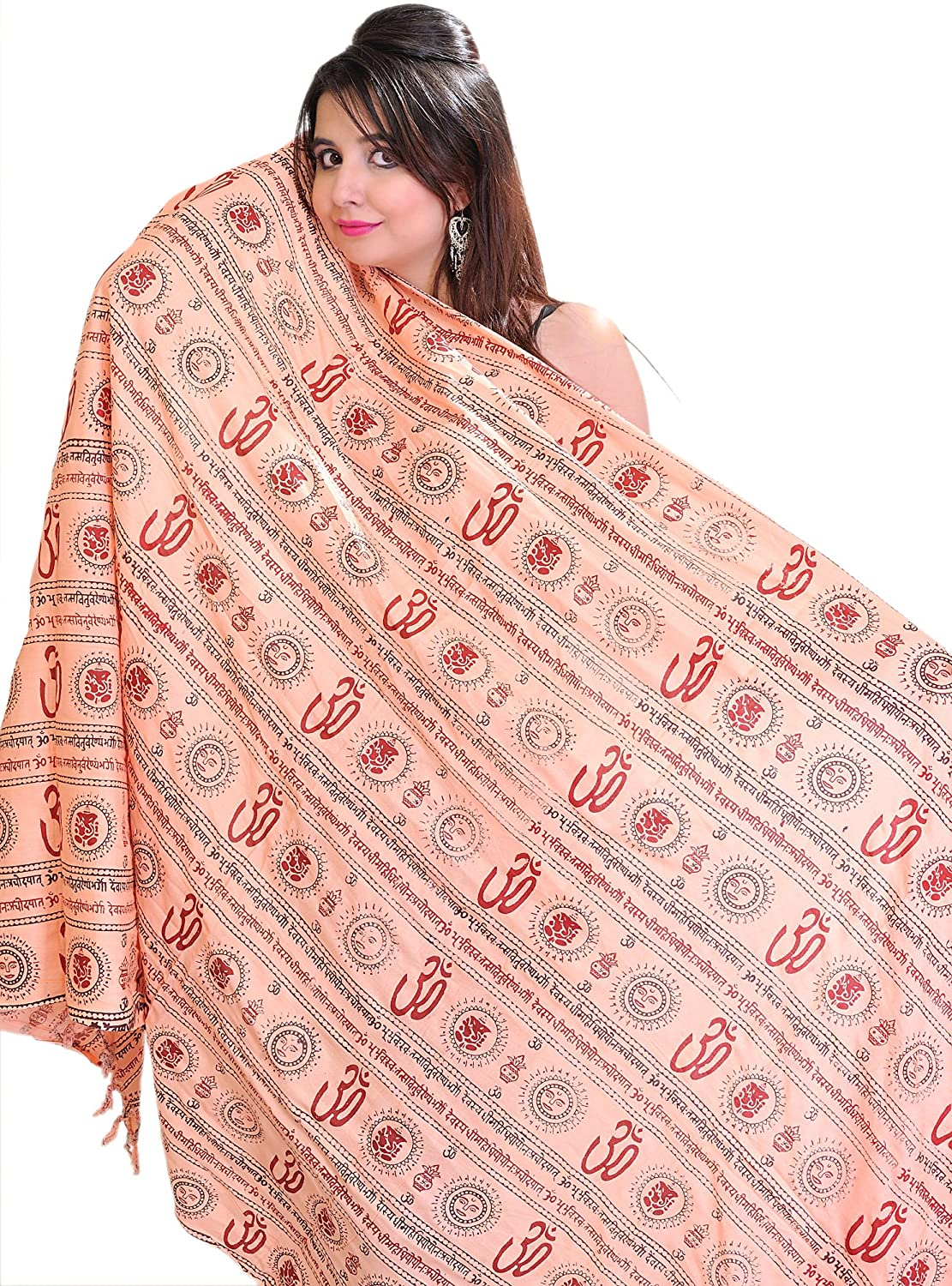 Exotic India Pink Om Prayer Shawl with Printed Gayatri - Color Red