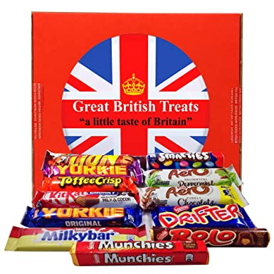 British Foods Worldwide Nestlé Gift Box | 12 British Chocolate Bars:  Smarties, Yorkie, Aero, Munchies, Toffee Crisp, Lion Bar, Kit-Kat, Rolo,  Milky