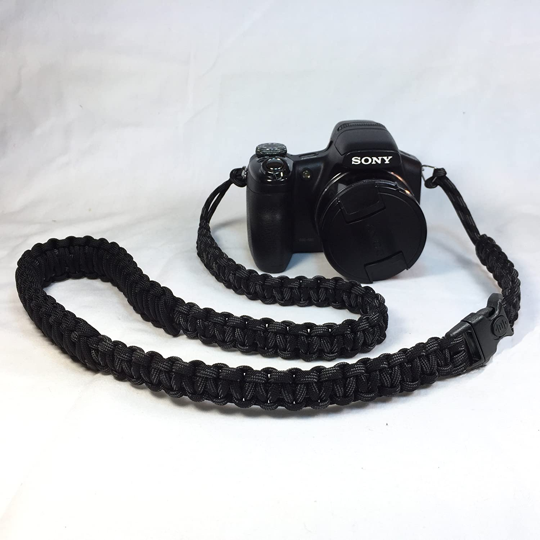 タッチのグレーとブラックパラコード50インチDSLRデジタルカメラ首肩安全ストラップセキュリティバックル B07D3K7D6Z