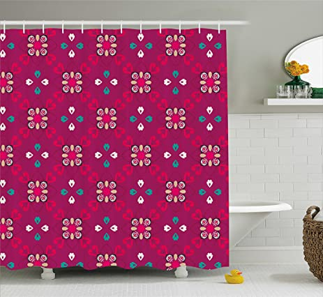 Amazon.com: Retro Shower Curtain by Ambesonne, Checkered Pattern ...