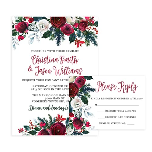 christmas wedding invitations and self mailing rsvp cards includes envelopes for set