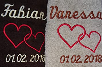 Toalla Set De Regalo Boda con nombres bordados boda regalo para los novios: Amazon.es: Hogar