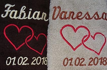 Toalla Set De Regalo Boda con nombres bordados boda regalo para los novios