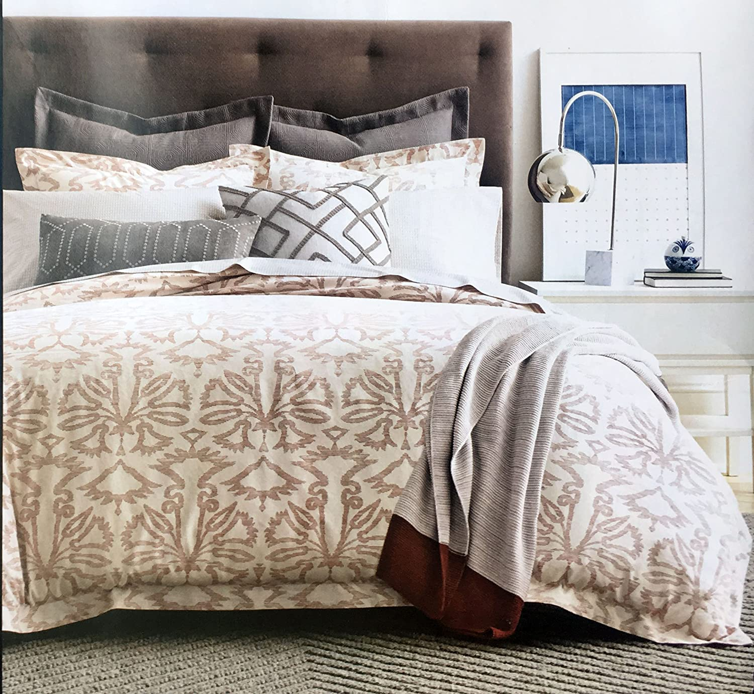 Currant Dwell Studio Luxury Cotton//Linen Blend Full//Queen Size Duvet Cover Geometric Floral Pattern in Red on a Tan//Beige Background Fontaine