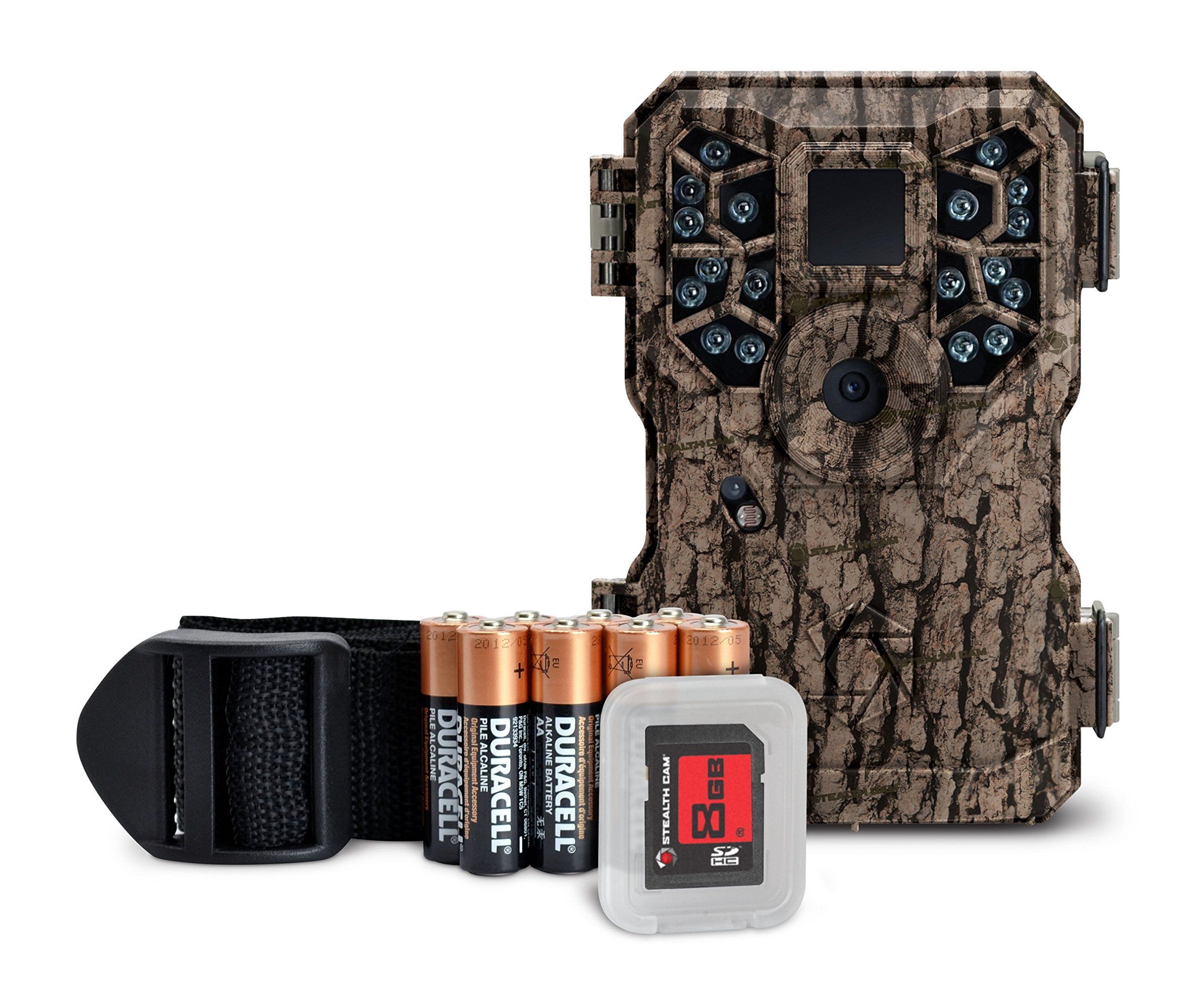GSM Outdoors STC-PX18CMO Stealth Cam, 8 Megapixel/Video Recording 15 seconds/18 IR Emitters/Camo/Combo Bat and SD, Digital Scouting Camera