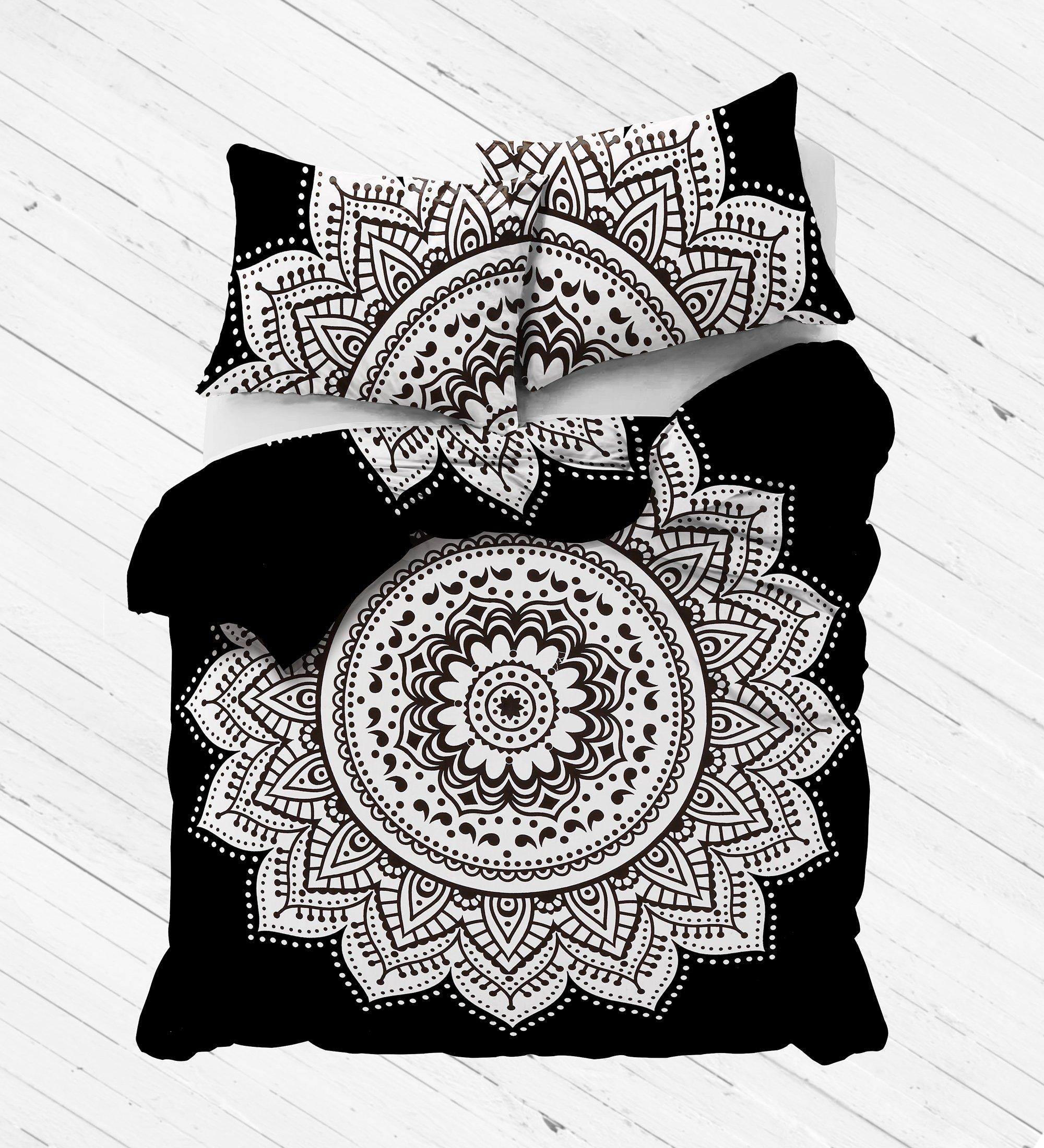 Madhu International Exclusive Black and White mandala duvet cover with pillowcases By, mandala bedding, mandala duvets, mandala bedroom decor, boho comforter cover