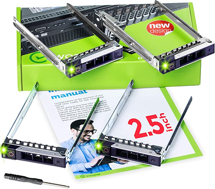 WorkDone 4-Pack - 2.5 inch Hard Drive Caddy Compatible for Dell PowerEdge Servers - 14th Gen R440 R640 R740 R740xd R840 R940 R6415 and More - Bright LED SSD SAS SATA NVMe Tray - with Setup Manual