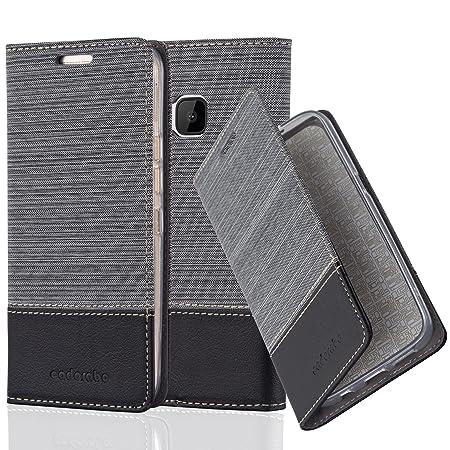 Cadorabo Hülle für HTC ONE M9 (3. Gen.) - Hülle in GRAU SCHWARZ – Handyhülle mit Standfunktion und Kartenfach im Stoff Design