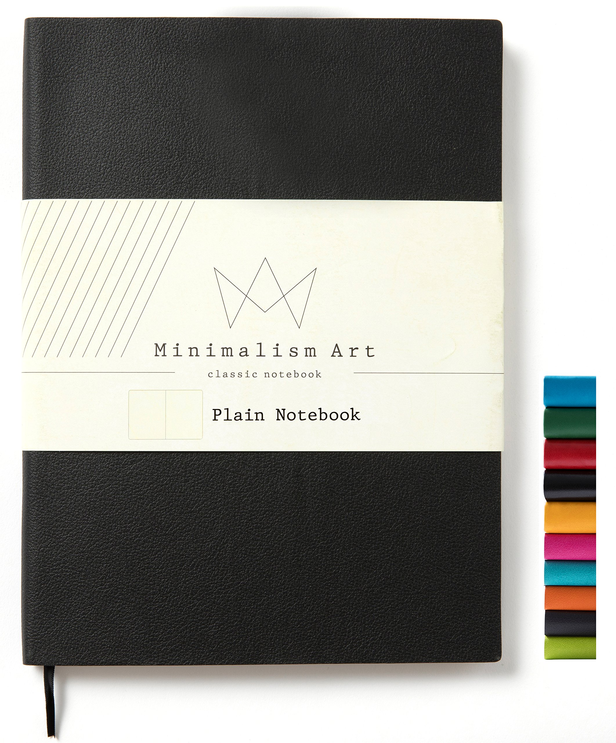 Minimalism Art   Soft Cover Notebook Journal, Size: 7.6'' X 10''; B5+, Black, Plain/Blank Page, 192 Pages, Fine PU Leather, Premium Thick Paper - 100gsm   Designed in San Francisco