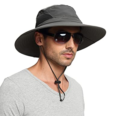 39aca84b200c9 EINSKEY Wide Brim Sun Hat Summer UV Protection Beach Hat Showerproof Safari  Boonie Hat Foldable Fishing