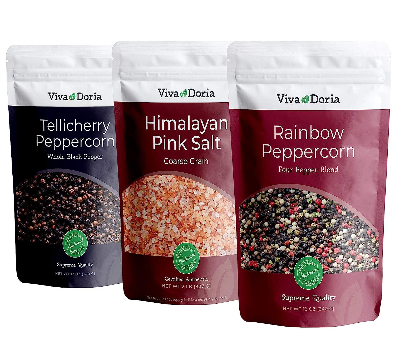 Viva Doria Himalayan Pink Salt Coarse Grain Crystal Sea Salt, (Everyday Spice Pack)