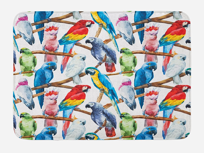 Rainbow Color Parrots Bird Theme Non Slip Bedroom Rug Bath Mat Shower Mat New