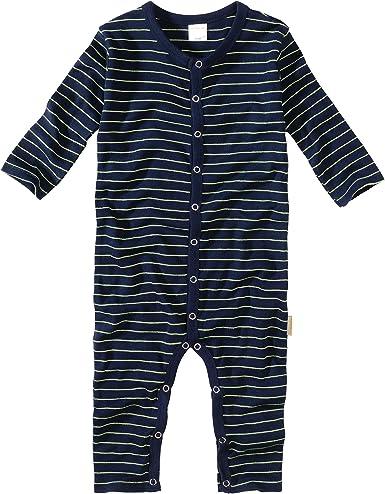 WELLYOU, Pijamas, Pijamas para niños, una Pieza de Manga Larga, niños pequeños, Azul Marino con Rayas Finas Amarillo neón. 100% algodón. Tallas 56-134