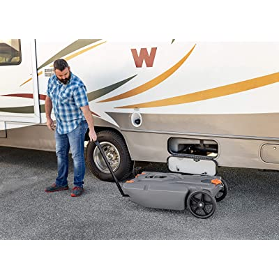 Includes Hoses and Accessories Camco RV Rhino Heavy Duty 36 Gallon Portable Waste Holding Tank with Steerable Wheels 39007