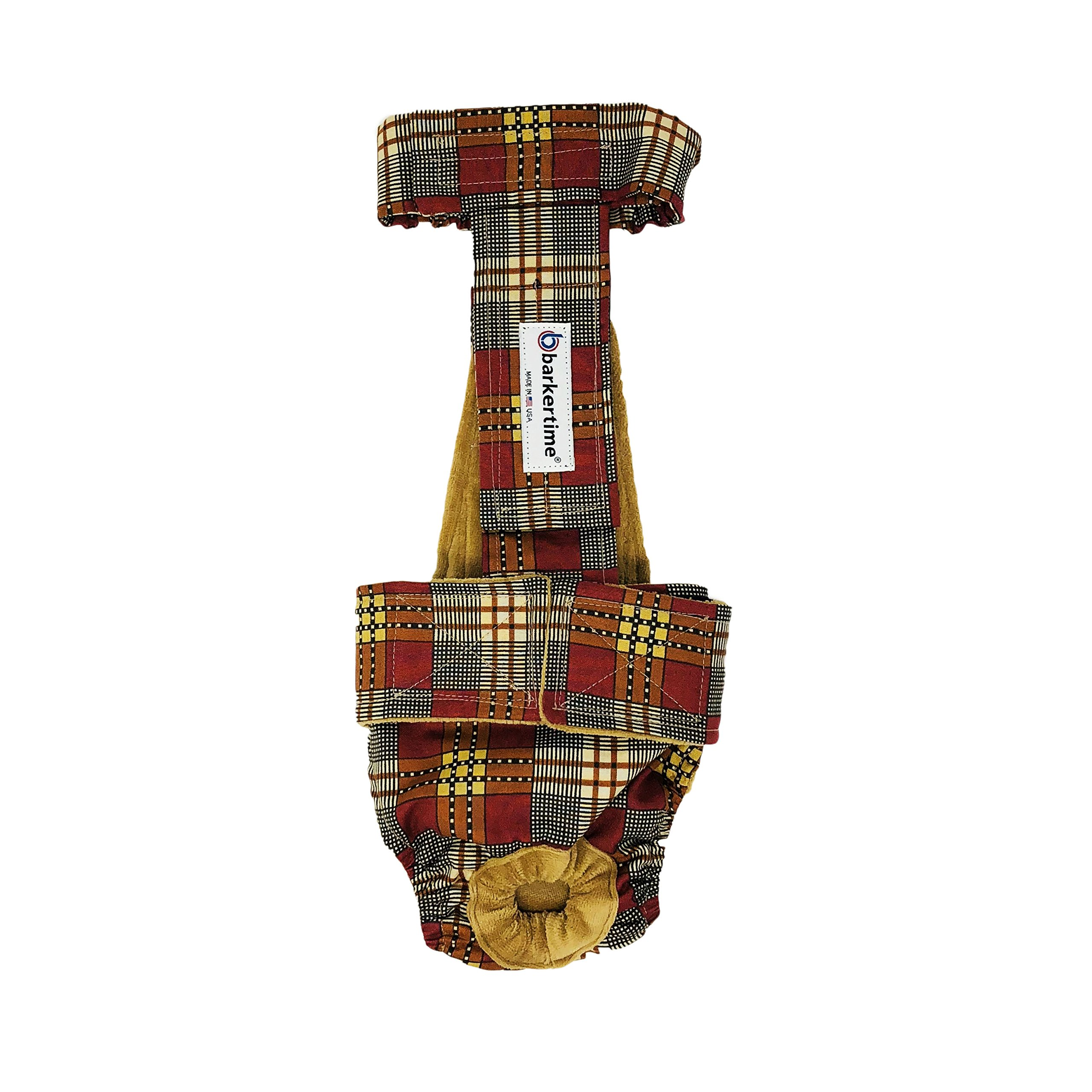 Dog Diaper Overall - Made in USA - Brown and Red Plaid Escape-Proof Washable Dog Diaper Overall, XXL, Without Tail Hole for Dog Incontinence, Marking, Housetraining and Females in Heat