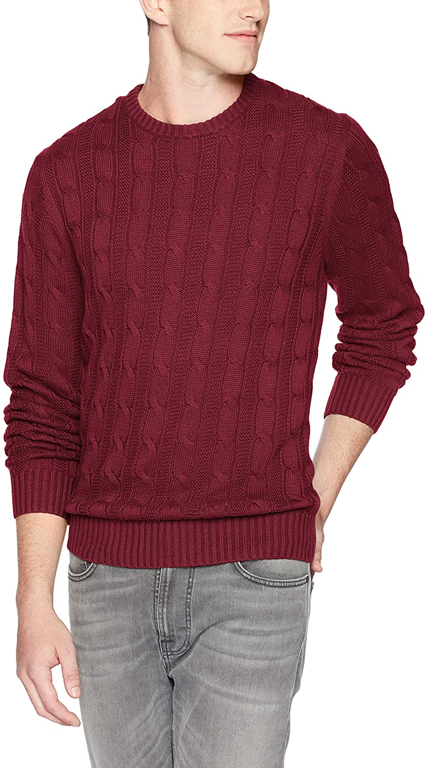 Goodthreads Mens Soft Cotton Cable Stitch Crewneck Long Sleeve Sweatshirt Brand