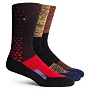 Richer Poorer Men's Active Performance Midweight Crew Socks -- One Size (3 Pairs Mixed Pack in Black, Red, Navy, & Brown)