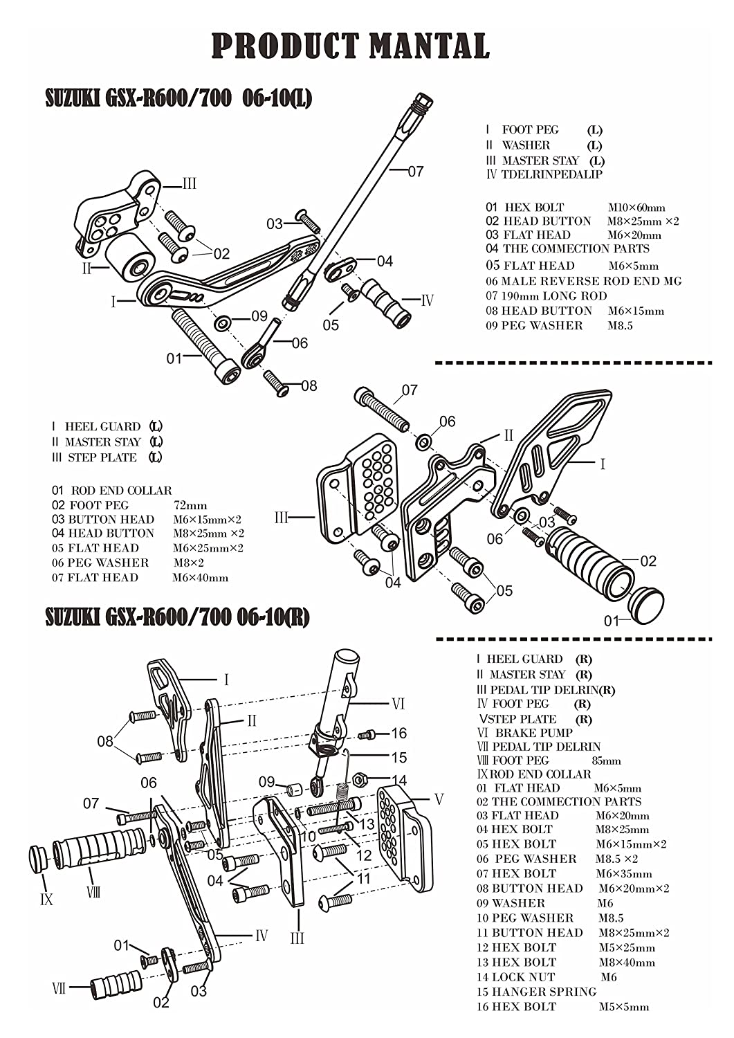 NEVERLAND Motorcycle CNC Adjustable Rearsets Footpegs Rear Sets for Suzuki GSXR600 GSXR750 2006 2007 2008 2009 2010 Red