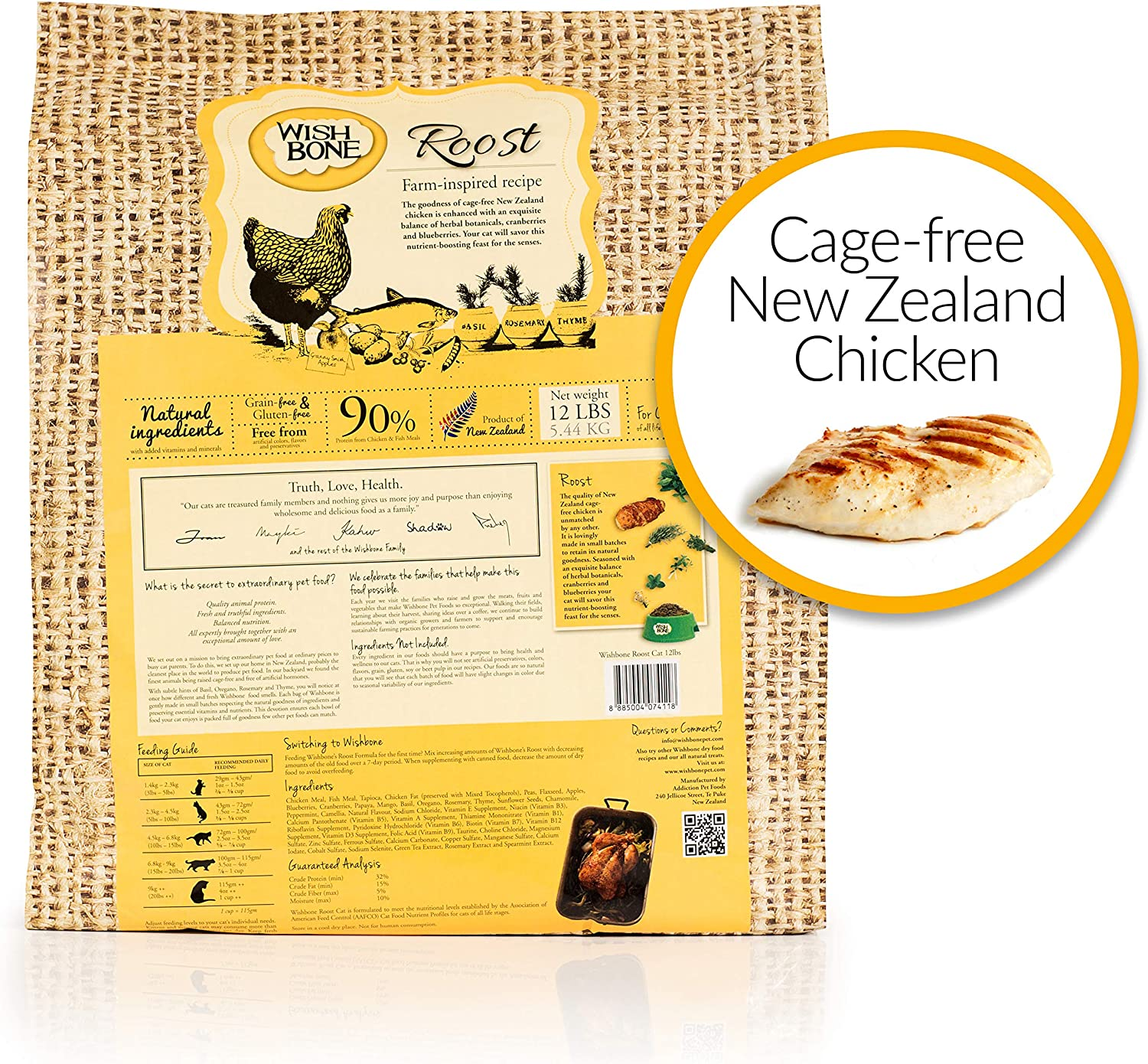 Wishbone Pet Foods Roost Grain and Gluten Free Cat Food, Made from New Zealand Chicken Cat Food, All Natural Dry Cat Food, High Protein, Minerals and Taurine Dry Cat Food, 12 lbs